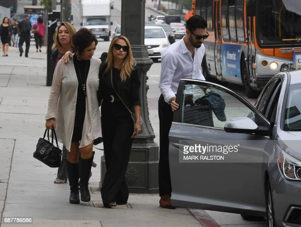 The 2015 Playboy Playmate of the Year Dani Mathers arrives at the Criminal Courts Building for a pretrial hearing during her body shaming case in Los...