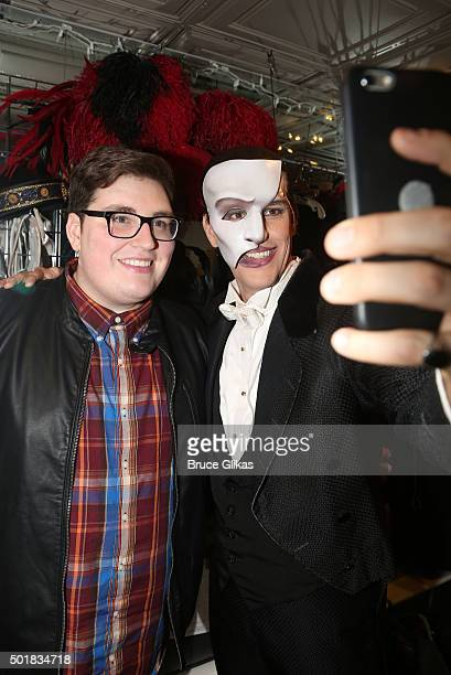 The 2015 winner of NBC's 'The Voice' Jordan Smith as 'The Phantom' and Jeremy Stolle as 'the Phantom' pose backstage at the hit musical ' The Phantom...