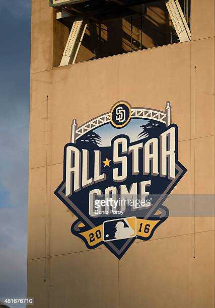 The 2016 All Star Game logo sits on the side of Petco Park during a baseball game between the Colorado Rockies and the San Diego Padres at Petco Park...