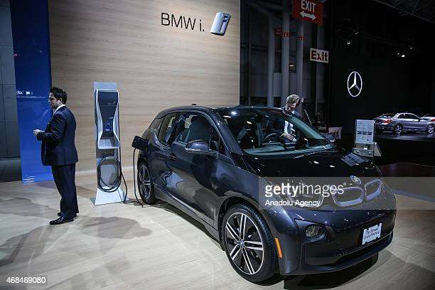 The 2016 BMW i3 is displayed during the New York International Auto Show on April 2 2015 in New York City