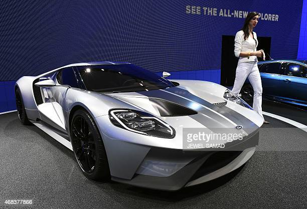 The 2016 Ford GT is displayed during the press preview of the 2015 New York International Auto Show at the Jacob Javits Center in New York on April 2...