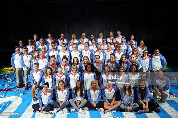 The 2016 US Olympic Swimming Team poses during Day Eight of the 2016 US Olympic Team Swimming Trials at CenturyLink Center on July 3 2016 in Omaha...