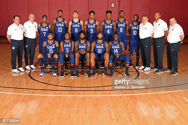 The 2016 USA Basketball Men's National Team poses for a team photo on July 19 2016 at Mendenhall Center on the University of Nevada Las Vegas campus...
