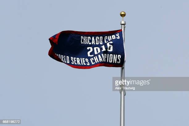 The 2016 World Series Champions banner is seen prior to the game between the Los Angeles Dodgers and the Chicago Cubs at Wrigley Field on Wednesday...