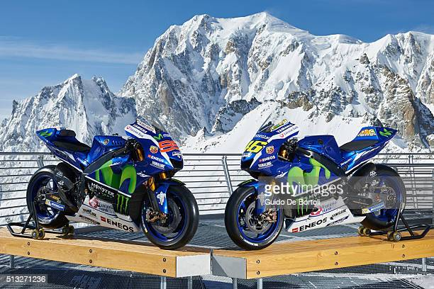 The 2016 Yamaha YZRM1s of Jorge Lorenzo and Valentino Rossi are pictured on the panoramic terrace of Punta Helbronner cable car station with the Mont...