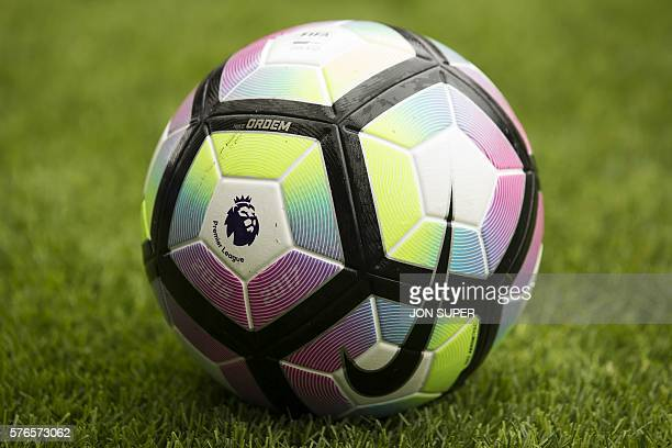 The 20162017 English Premier League logo is seen on the match ball ahead of the preseason friendly football match between Wigan Athletic and...