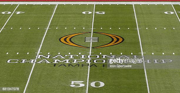 The 2017 College Football National Championship log on the 50Yard Line of Raymond James Stadium for the game between the Clemson Tigers and Alabama...