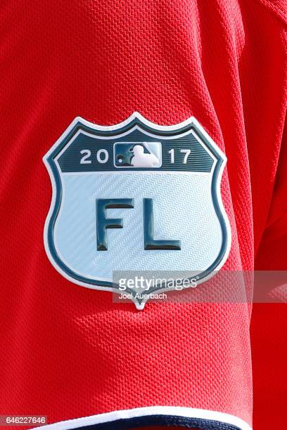The 2017 Grapefruit League patch on the uniform of Pedro Severino of the Washington Nationals prior to the spring training game against the Houston...