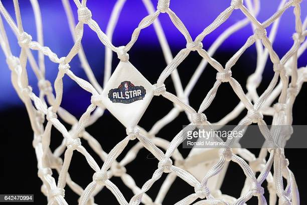 The 2017 NBA AllStar logo is seen on a net prior to the 2017 BBVA Compass Rising Stars Challenge at Smoothie King Center on February 17 2017 in New...