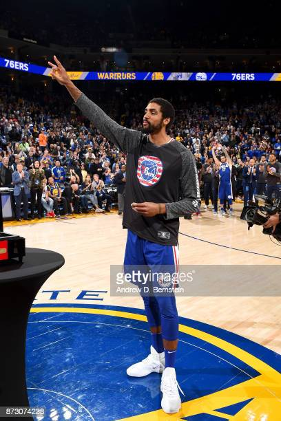 The 2017 NBA Championship ring is presented to James Michael McAdoo of the Philadelphia 76ers before the game against the Golden State Warriors on...
