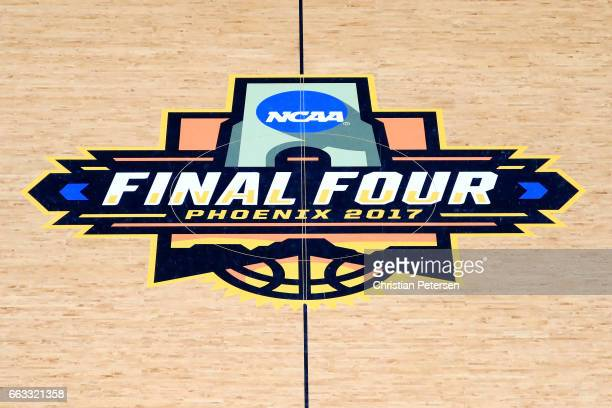 The 2017 NCAA Final Four logo is seen at midcourt before the 2017 NCAA Men's Final Four Semifinals at University of Phoenix Stadium on April 1 2017...