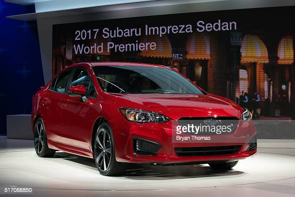 The 2017 Subaru Impreza Sedan is introduced at the New York International Auto Show at the Javits Center on March 23 2016 in New York NY Chief...