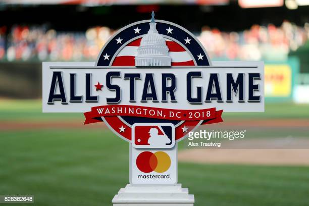 The 2018 AllStar Game logo is seen on the field prior to the game between the Milwaukee Brewers and the Washington Nationals at Nationals Park on...