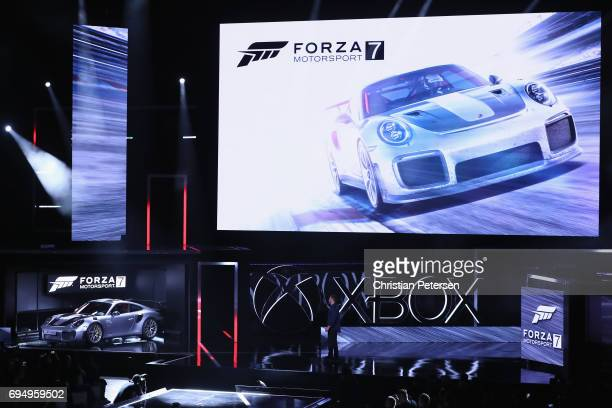 The 2018 Porsche 911 GT2 RS is introduced alongwith 'Forza Motorsport 7' during the Microsoft xBox E3 briefing at the Galen Center on June 11 2017 in...