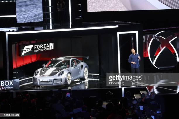 The 2018 Porsche Automobil Holding SE 911 GT2 RS sports vehicle is unveiled during the Microsoft Corp Xbox One X reveal event ahead of the E3...