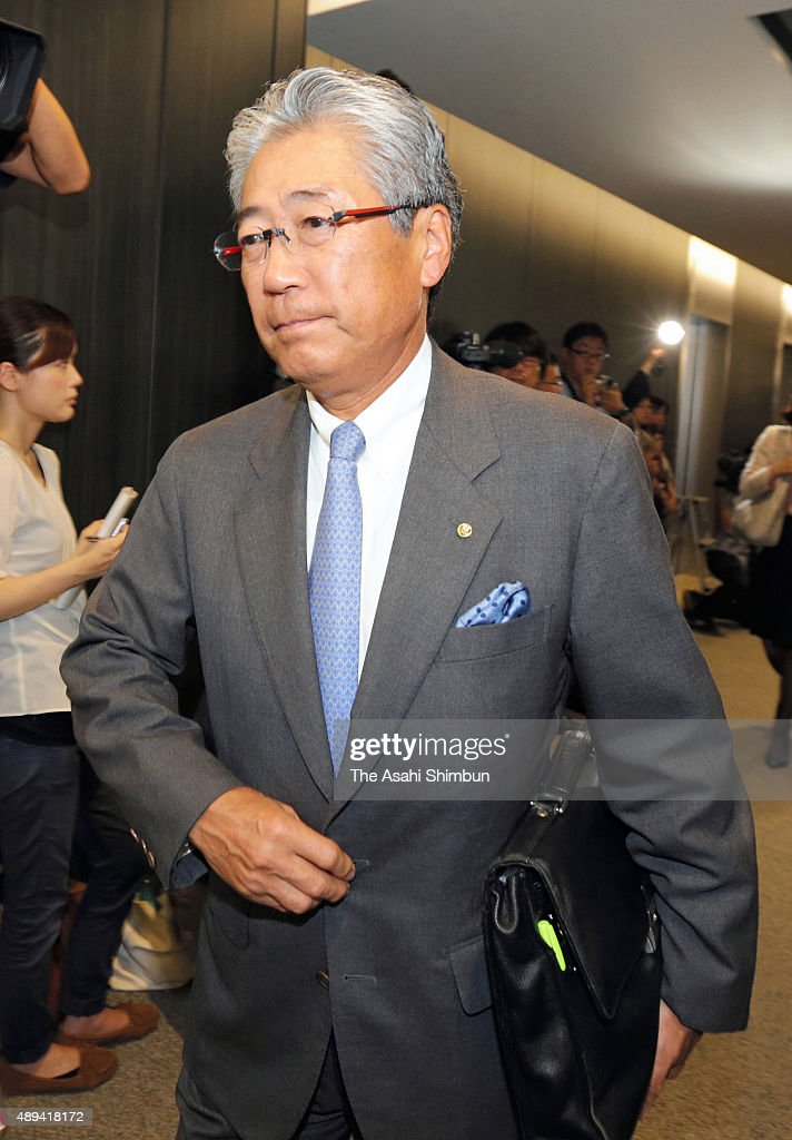 The 2020 Tokyo Olympic and Paralympic Games Organising Committee Vice President and Japan Olympic Committee President <a gi-track='captionPersonalityLinkClicked' href=/galleries/search?phrase=Tsunekazu+Takeda&family=editorial&specificpeople=2574573 ng-click='$event.stopPropagation()'>Tsunekazu Takeda</a> is seen after the official announcement of the decision to pull the emblem on September 1, 2015 in Tokyo, Japan. Designer Kenjiro Sano's design was chosen as the winning emblem on July 24 out of 104 entries. However, almost immediately after that decision was announced, Internet users pointed out similarities between the emblem and the logo of a theatre in Belgium.