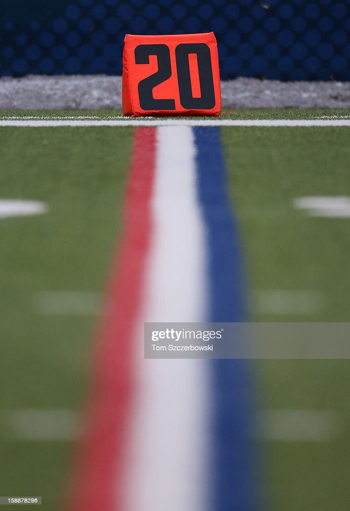 The 20-yard line marker marks the red zone during the New York Jets NFL game against the Buffalo Bills at Ralph Wilson Stadium on December 30, 2012 in Orchard Park, New York.