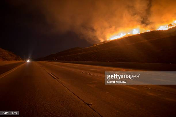 The 210 freeway remains close as flames continue to spread at the La Tuna Fire on September 2 2017 near Burbank California Los Angeles Mayor Eric...
