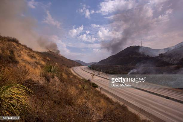 The 210 freeway remains closed to all but emergency traffic during the La Tuna Fire on September 2 2017 near Burbank California Los Angeles Mayor...
