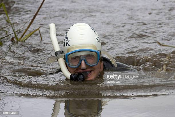The 21St World Bog Snorkelling Championships In The Waen Rhydd Peat Bog At Llanwrtyd Wells Wales Competitors Have To Complete TwoLengths Of A 60Yard...