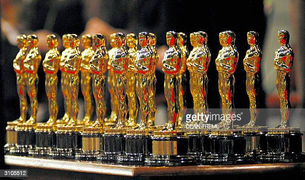 The 22 Oscars won by the Lord of The Rings sit on a table in front of the 3000 assembled fans that turned out to see director Peter Jackson and the...