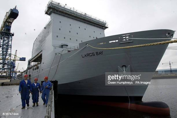 The 22000 tonne Royal Fleet Auxiliary ship Largs Bay docked at the Swan Hunter shipyard Wallsend The yard secured the 140 million Ministry of Defence...