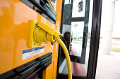 The 220volt plugin on the Austin Independent School District first hybrid school bus in Texas one of 18 in the country The hybrid bus can drive a...