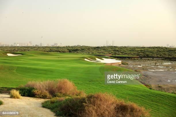 The 224 yards par 3 17th hole at the Al Zoorah Golf Club on January 29 2017 in Ajman United Arab Emirates