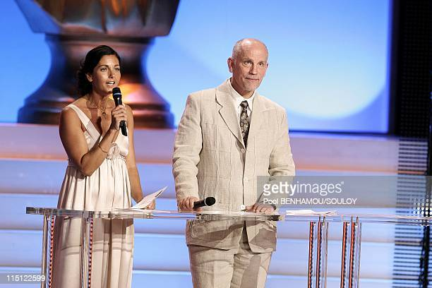 The 22nd 'Nuit des Molieres 2008' at the Folies Bergere in Paris France on April 28 2008 Christiana Reali and John Malkovich