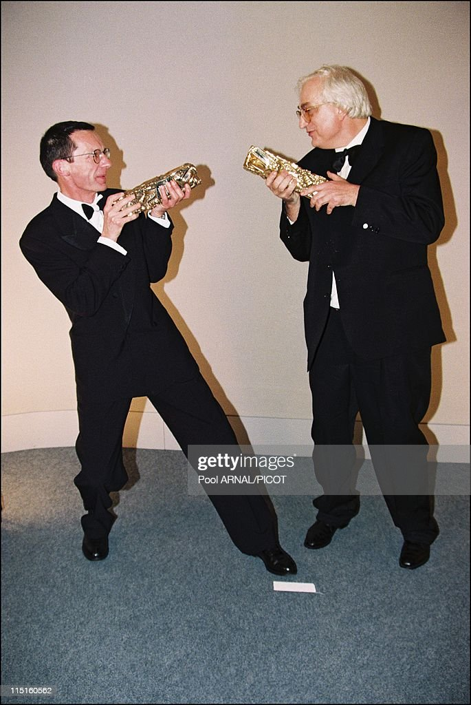The 22th evening of 'Cesars' in Paris France on February 07 1997 Bertrand Tavernier Cesar for the best director with'Capitaine Conan' Patrice Leconte...