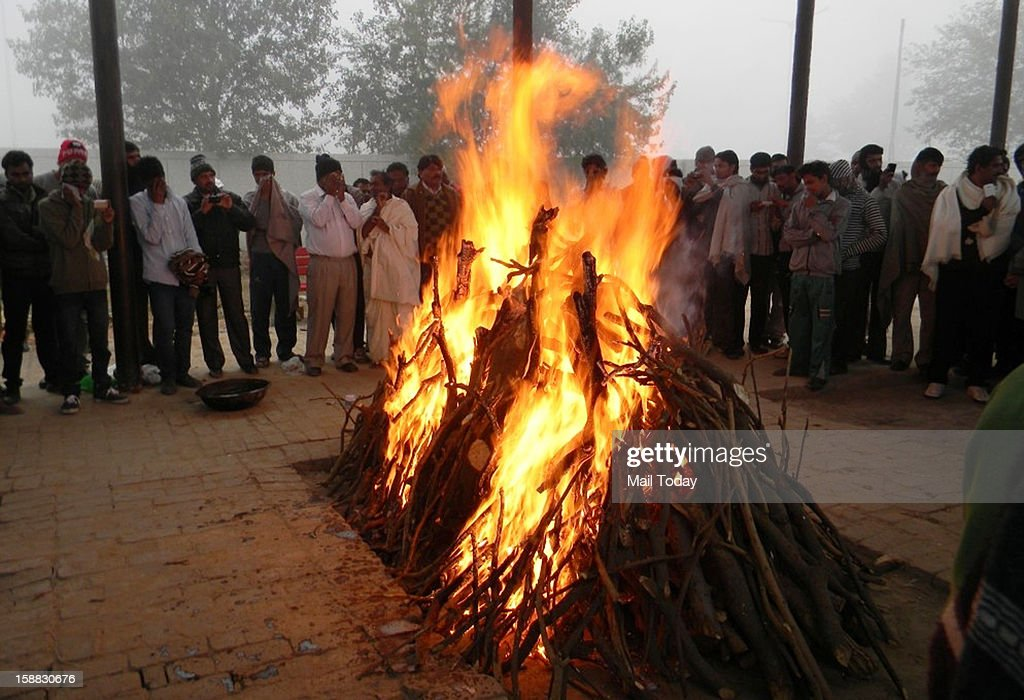 The 23 year old Delhi gang rape victim being cremated in New Delhi in on Sunday.