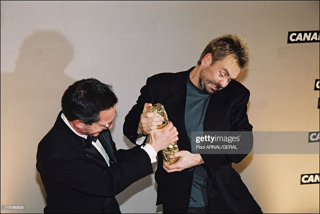 The 23rd Cesar Awards Ceremony in Paris France in February 1998 Patrice Leconte and Luc Besson Cesar Award for Best Director in 'Le cinquieme element'
