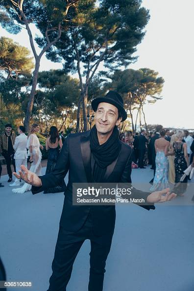 The 23rd gala evening of AmFar Adrien Brody is photographed for Paris Match in Cap d Antibes at the Hotel CapEdenRoc on May 19 2016