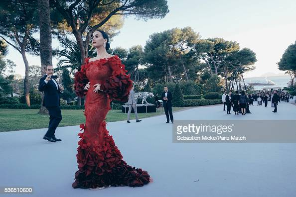 The 23rd gala evening of AmFar Katy Perry wearing Marchesa and Harry Winston jewellery is photographed for Paris Match in Cap d Antibes at the Hotel...
