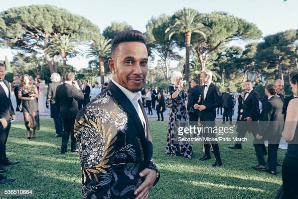 The 23rd gala evening of AmFar Lewis Hamilton is photographed for Paris Match in Cap d Antibes at the Hotel CapEdenRoc on May 19 2016