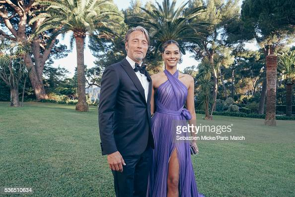 The 23rd gala evening of AmFar Mads Mikkelsen and Heidy de la Rosa are photographed for Paris Match in Cap d Antibes at the Hotel CapEdenRoc on May...