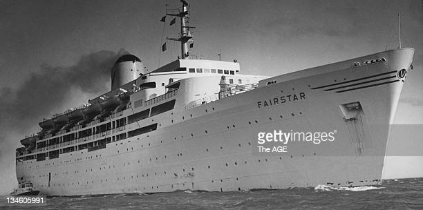 The 24000 ton passenger liner Fairstar pictured in Port Phillip Bay on her maiden voyage to Australia 18 June 1964