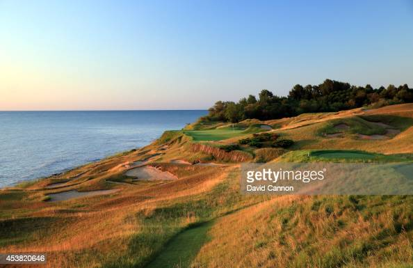 The 249 yards par 3 17th hole 'Pinched Nerve' on the Whistling Straits 'Straits' Course venue for the 2015 PGA Championship on August 14 2014 in...