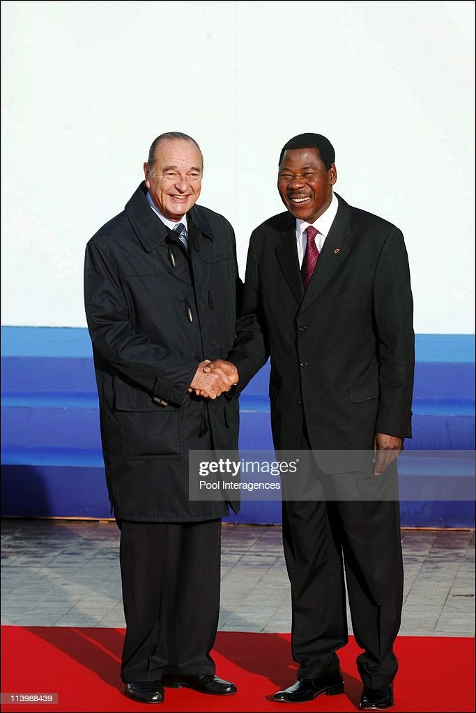 The 24th France-Africa summit in Cannes, France On February 14, 2007-<a gi-track='captionPersonalityLinkClicked' href=/galleries/search?phrase=Jacques+Chirac&family=editorial&specificpeople=165237 ng-click='$event.stopPropagation()'>Jacques Chirac</a>, president of the Republic at the begin of the summit, welcome the chef of Africain state. <a gi-track='captionPersonalityLinkClicked' href=/galleries/search?phrase=Yayi+Boni&family=editorial&specificpeople=3974519 ng-click='$event.stopPropagation()'>Yayi Boni</a>, president of Nigeria.