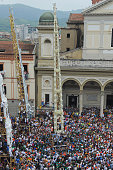 The 25metre tall wood and papiermache statues called 'giglio' are displayed in the central square during the annual Festa dei Gigli 'The Lily...