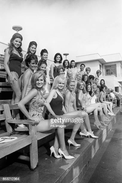 The 27 contestants in the Miss Great Britain final held at the Super Swimming Stadium in Morecambe Kathleen Winstanley of Wigan Lynda Thomas of...