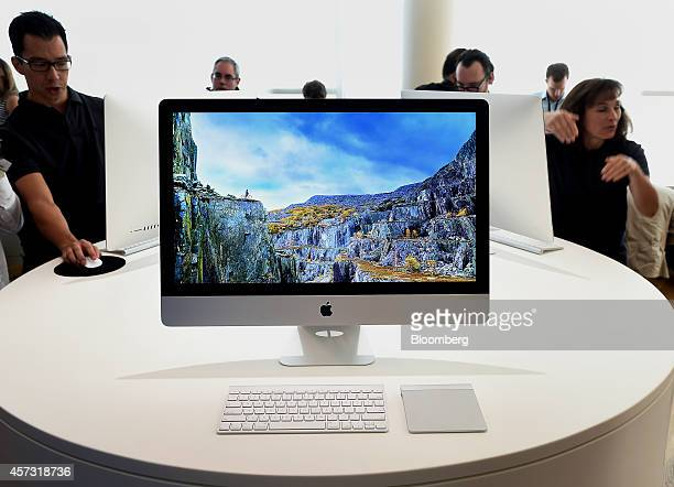 The 27inch Apple Inc iMac computer with 5K retina display is displayed after a product announcement in Cupertino California US on Thursday Oct 16...