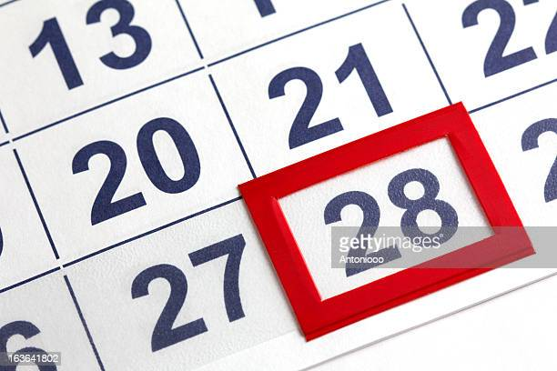 The 28th Day on a Calendar Boxed in Red
