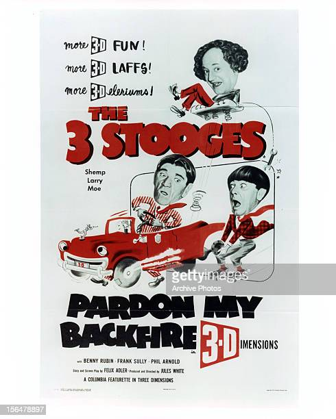The 3 Stooges on a film poster for 'Pardon My Backfire' 1953
