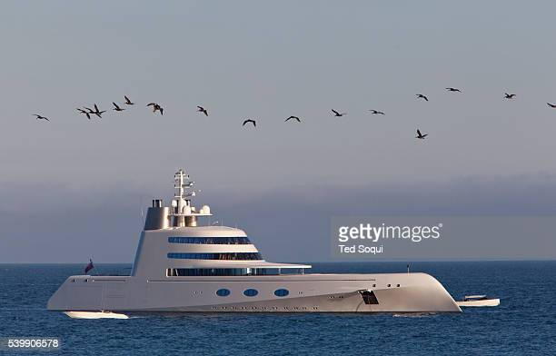 The 300 Million dollar 'A' yacht designed by Philippe Starck and owned by Russian billionaire Andrey Melnichenko is anchored off California's Malibu...
