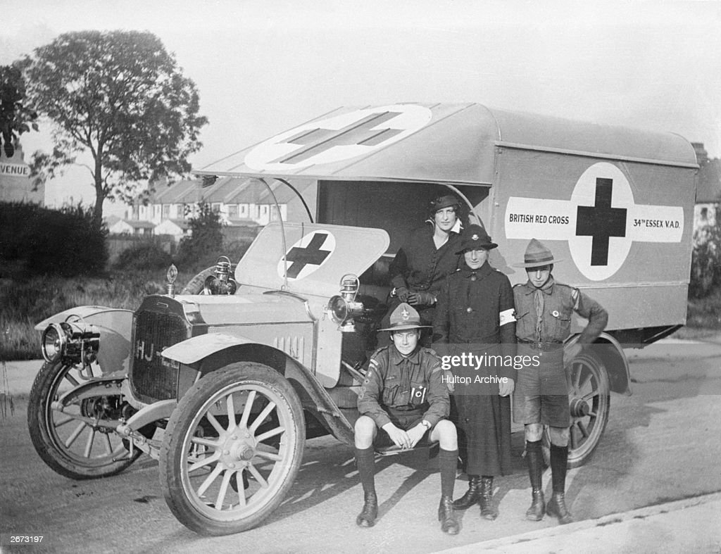 The 34th Essex VAD (the Voluntary Aid Detachment) Ambulance manned by boy scouts and volunteer nurses.