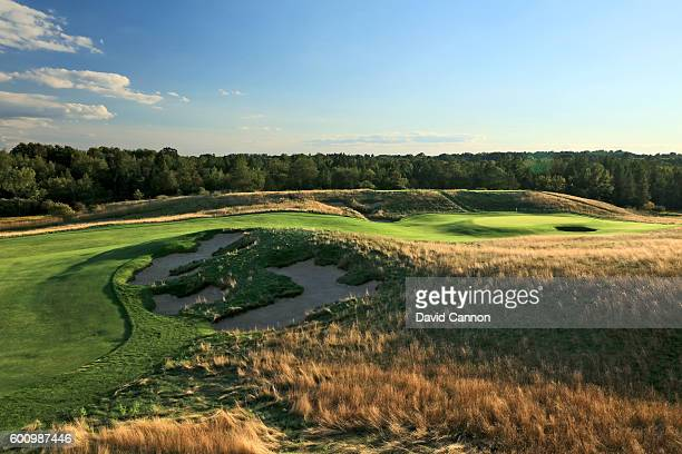 The 358 yards par 4 second hole at Erin Hills Golf Course the venue for the 2017 US Open Championship on August 31 2016 in Erin Wisconsin
