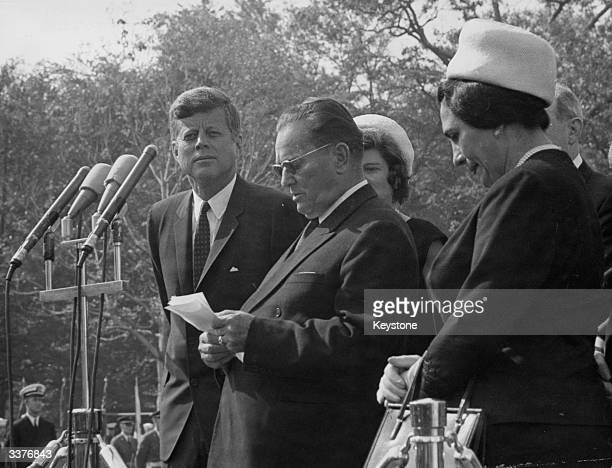 The 35th President of the United States of America John F Kennedy listens to President Josip Broz Tito of Yugoslavia giving a speech on the occasion...