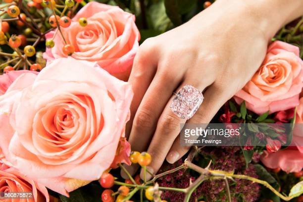 The 3730 carat Raj Pink the world's largest know fancy intense pink diamond goes on view at Sotheby's on October 13 2017 in London England The...