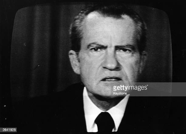 The 37th President of the United States Richard Nixon on a television screen